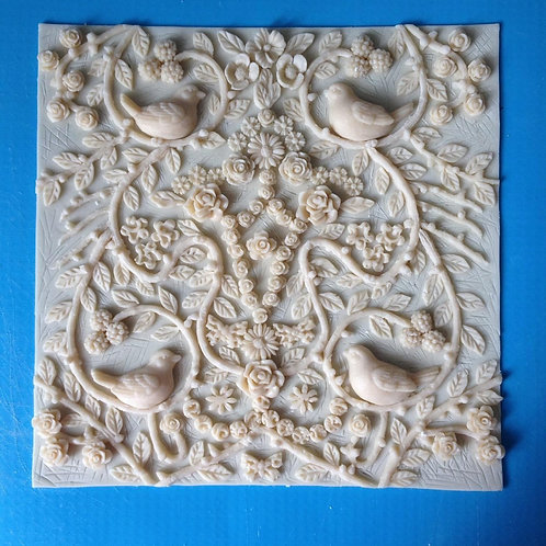 Silicone decorating mould - Birds in the garden