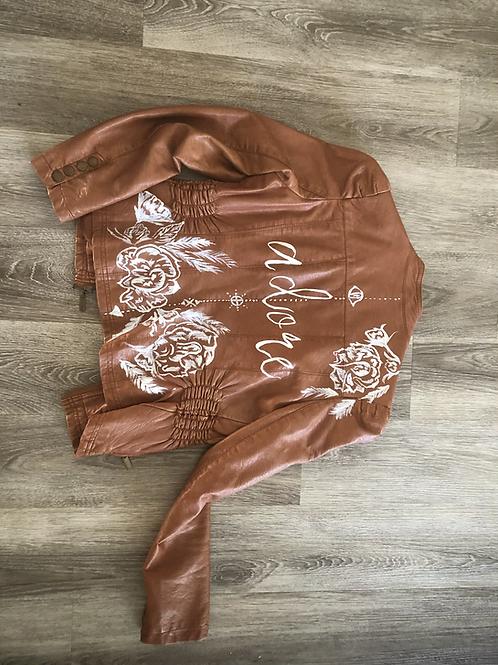 Hand Painted Vegan Leather Jacket