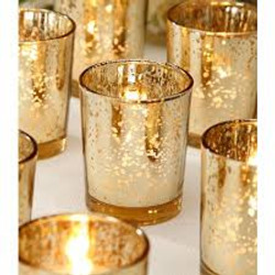 gold votive candle cup