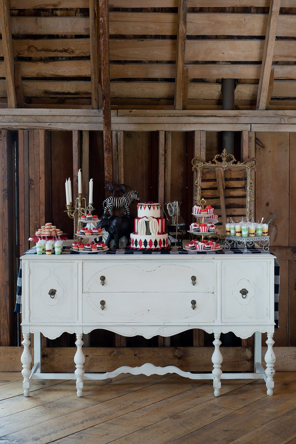a vintage weathered buffet for an event at a barn