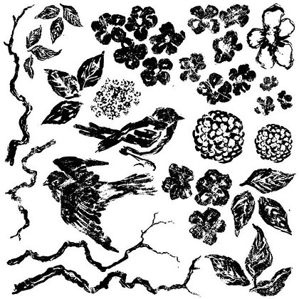 BIRDS BRANCHES BLOSSOMS 12X12 DECOR STAMP
