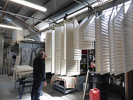 Interior shutters in production