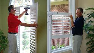 interior shutters being installed