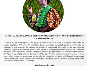 EL CAC MÁLAGA RENUEVA SU COLECCIÓN PERMANENTE CON ARTE DE PROXIMIDAD EN NEIGHBOURS IV