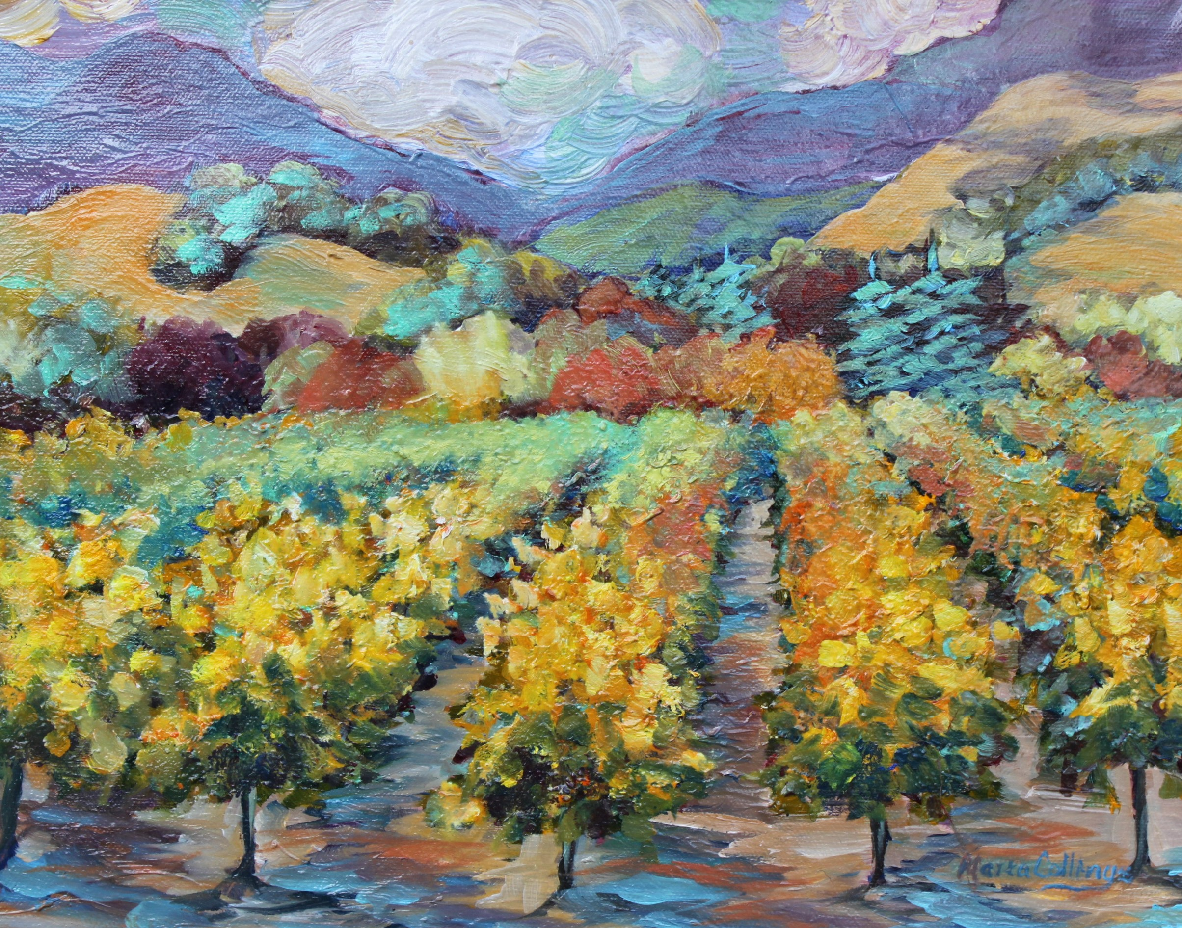 Van Goghs style vineyard,  SOLD