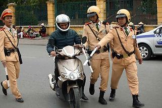 Traffic police in Vietnam. Vietnam license for foreigner