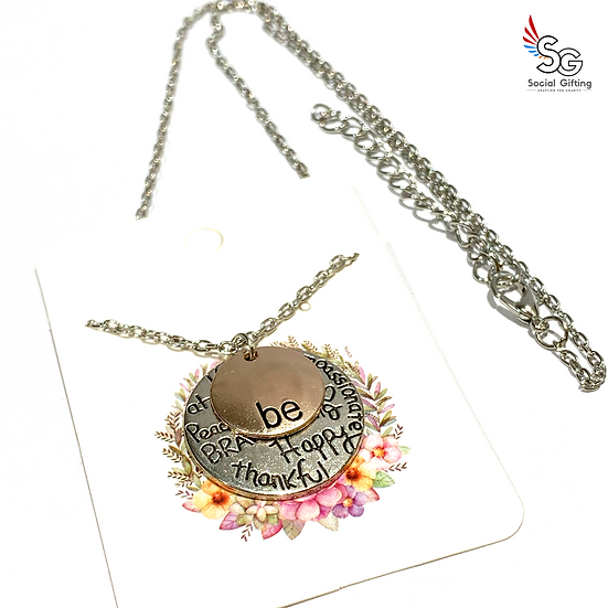 Be Kind, Brave, Strong Charm with Chain