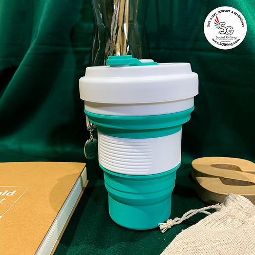 Silicone Collapsible Coffee Cup w Motivational Charm