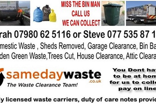 refuse bag collection from £2 per bag according