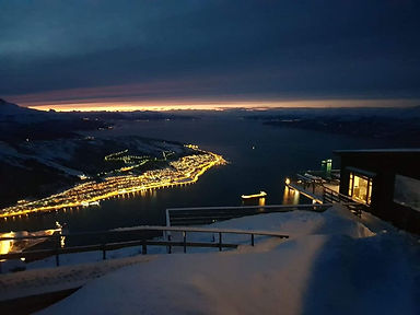 Narvik Mountain lift at night