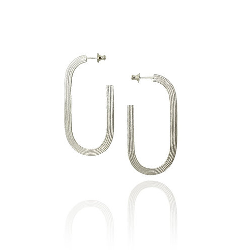 Linear silver large statement hoops