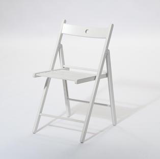 木質白折疊椅