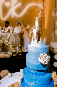 Gold and Blue Wedding Cake by Storybook Events