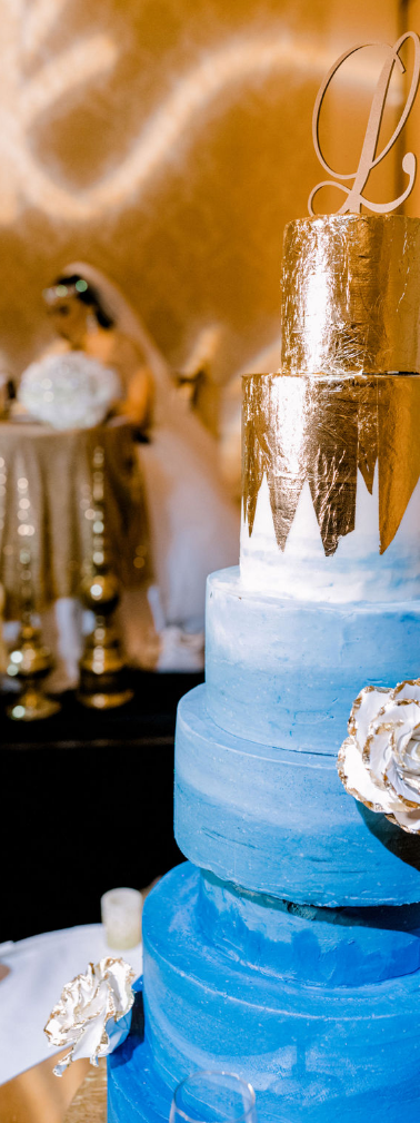 Gold & Blue Wedding Cake