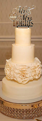 Cream 4 Tier Wedding Cake