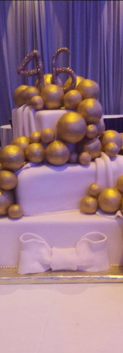 3 Tier White & Gold Trim Birthday Cake