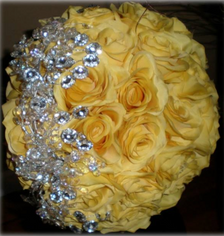 Yellow Rose Custom Brooch Bouquet