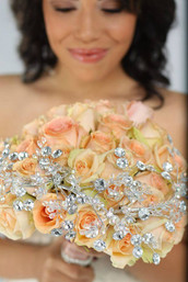 Peach Rose Brooch Bouquet