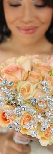 Peach Rose Brooch Bouquet