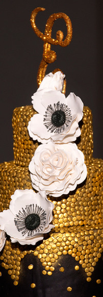 3 Tier Black & Gold Wedding Cake