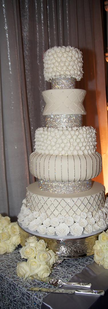 White & Silver 5 Tier Wedding Cake