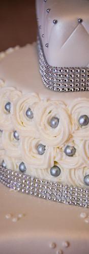 3 Tier White & Silver Wedding Cake