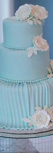 Tiffany Blue 3 Tier Wedding Cake