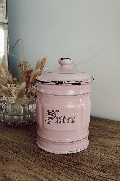 Pot à sucre émaillé rose