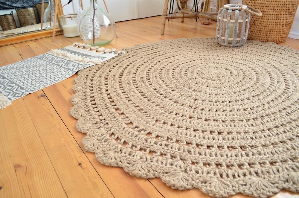 tapis rond en crochet drawer