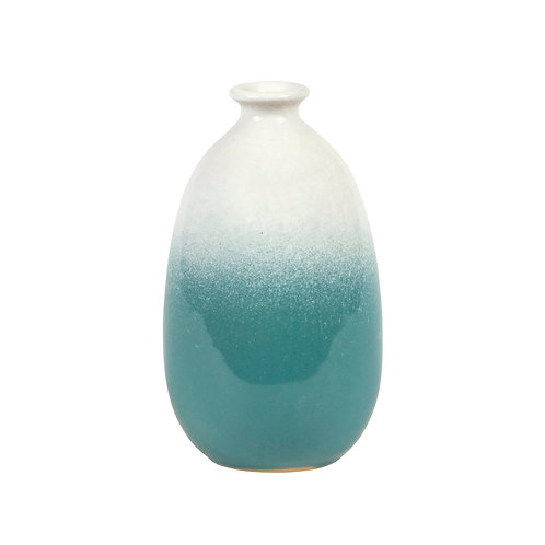 Dip Glazed Ombre Turquoise Vase
