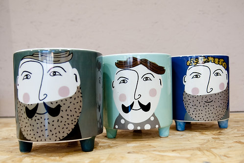 Hipster gent ceramic pot