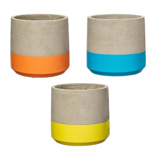 Colour Block Cement Planter