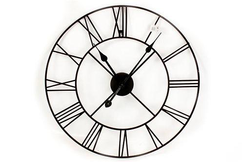 Black Metal Roman Numeral Wall Clock - Large