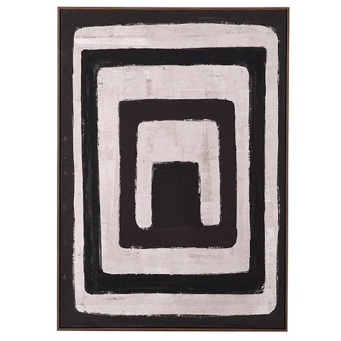 Natural and Black Abstract Print