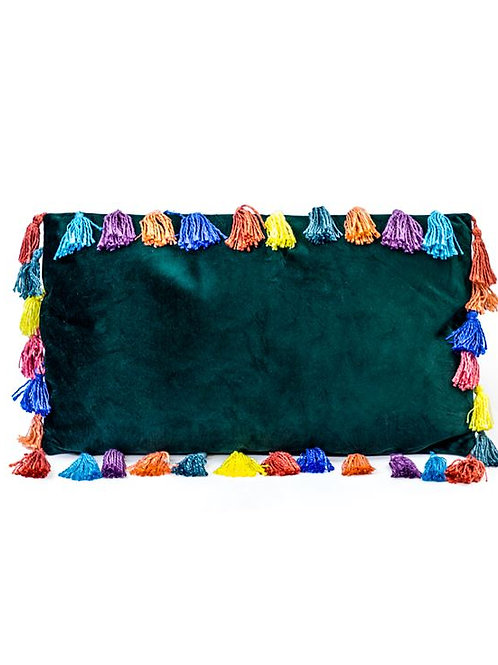 Fern Green Large Rectangular Velvet Arco Iris Tassel Cushion