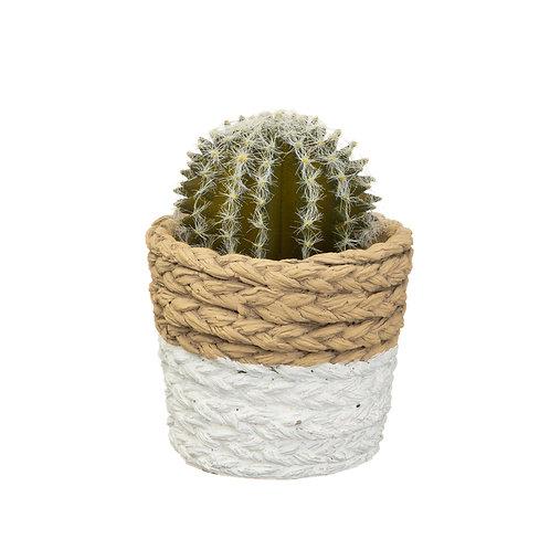 White Dip Cement Basket Planter