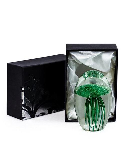 Dark Green Jellyfish Glass Paperweight with Gift Box