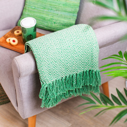 Green Herringbone Throw