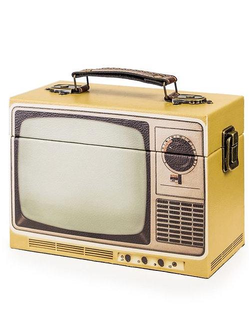 Yellow Retro Television Storage Box