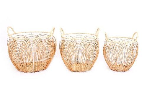3 Round Willow Baskets