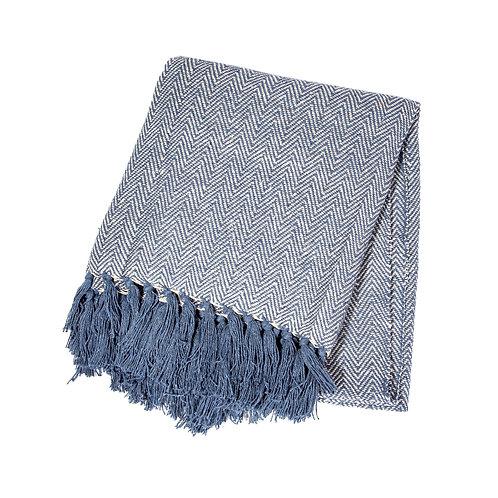 Blue Herringbone Blanket Throw