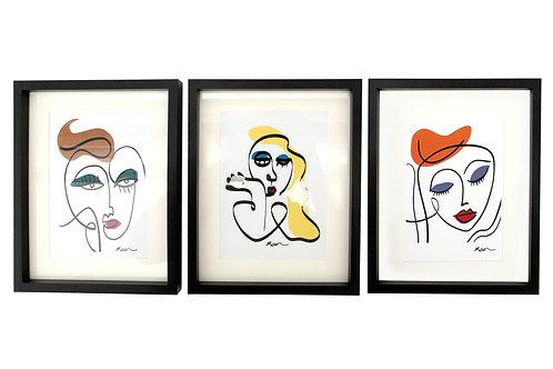 Art Deco Face Prints Wall Art