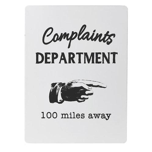 Complaints Department Sign
