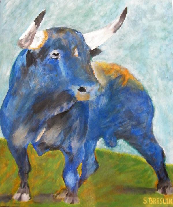 "26""X 30"" Acrilic Bull"