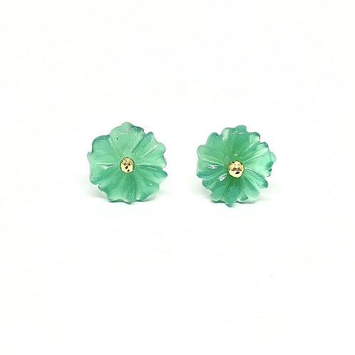 Boucles d'oreilles Fleurs agate verte tige en Or 18ct