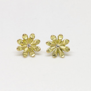 Boucles d'oreilles fleurs or 18ct diamants