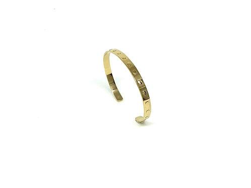 Bracelet jonc plat relief ovale en argent plaqué Or
