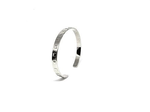 Bracelet jonc plat relief carré argent 925