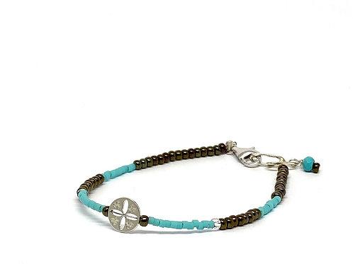 """Bracelets Mini trésor """"la vie"""" perlines turquoise"""