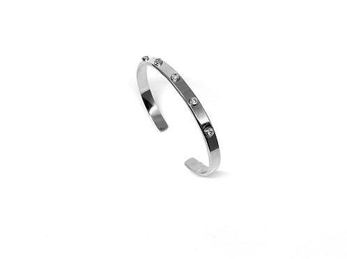 Bracelet jonc plat en argent 925 serti de 5 zirconium